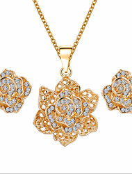 Lucky Doll Women's All Matching Luxury Gem Rose Gold Plated Zirconia Flower Necklace & Earrings Jewelry Sets