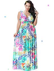 doce curva de vestido de praia skater feminino, floral profunda v maxi mangas primavera azul spandex