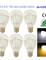 Ampoules Globe LED Décorative Blanc Chaud / Blanc Froid YouOKLight 6 pièces B E26/E27 7W 14 SMD 5730 600 LMAC 85-265 / AC 100-240 / AC