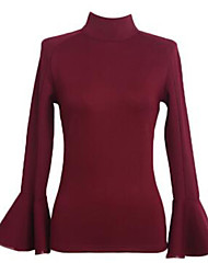 Women's Solid Red / White / Black Blouse , Turtleneck Long Sleeve