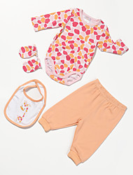 Girl's Orange Clothing Set,Floral Cotton All Seasons