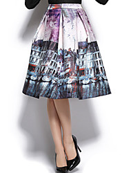Damen Röcke Knielang Baumwolle / Polyester Mikro-elastisch