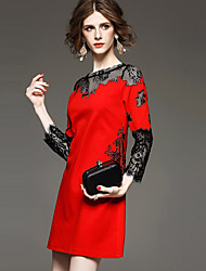 OuYa Women's Patchwork / Lace Red / Black Dresses , Sexy / Lace / Party Round Long Sleeve