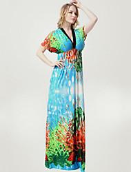 Women's Beach Plus Size / Swing Dress,Print Deep V Maxi Short Sleeve Green Spandex Spring