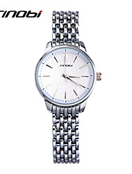 SINOBI® Female Quartz Watches Battery Silver Colour Band White Surface Ladies' Fashion Bracelet Wristwatches Women Montre Cool Watches Unique Watches