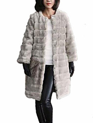 Fur Coats Fashion Long Sleeve Collarless Faux Fur Coat