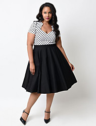 Women's Vintage Swing Dress,Polka Dot V Neck Knee-length Short Sleeve Red / Black Cotton Spring