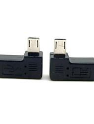 cy® gauche et tourner à droite Micro USB mâle à micro adaptateur USB femelle pour téléphone portable