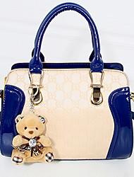 Women PU Baguette Shoulder Bag - Blue / Red