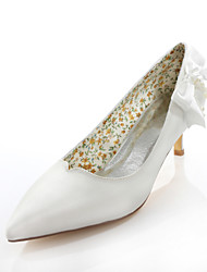 Women's Spring / Summer / Fall Heels / Pointed Toe Silk Wedding / Dress / Party & Evening Stiletto Heel Pearl / Ribbon Tie Ivory