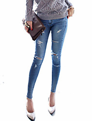 Women's Skinny Jeans Pants Sexy Split Low Rise Inelastic All Seasons