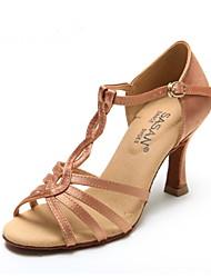 Non Customizable Women's Dance Shoes Satin Satin Latin Heels Flared Heel Indoor / Performance / Practice / Beginner / ProfessionalBlack /