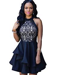 Women Dress Crochet Lace Halterneck Sleeveless Irregular Ruffle Hem Evening Party Mini Dress