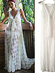 vestido blanco de encaje de las mujeres, sexy / playa / maxi profunda v sin mangas de ver a través de