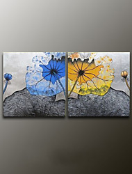 Hand-Painted Floral/Botanical Modern Oil Painting , Canvas Two Panels