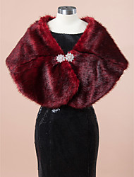 Wedding  Wraps Fur Wraps Shawls Sleeveless Faux Fur Burgundy Wedding Party/Evening Rhinestone Clasp