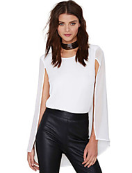Women's Solid White Blouse , Round Neck Sleeveless