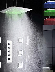 Torneira de Chuveiro - LED / Chuveiro Tipo Chuva / Spray Lateral / Chuveiro de Mão Incluído - Latão (Cromado) - ESTILO Contemporâneo