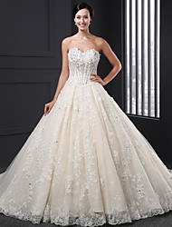 A-line Wedding Dress - Champagne Court Train Sweetheart Lace