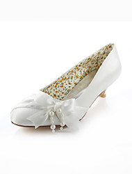 Women's Spring / Summer / Fall Heels / Round Toe Silk Wedding / Dress / Party & Evening Low Heel Pearl / Ribbon Tie Ivory
