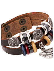 Antique Silver Swirl Lips Design Double Layer  Leather Bracelets