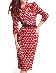 Women's Plus Size Vintage Shirt Collar Dress , Polyester Midi ¾ Sleeve