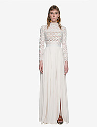 Women's Patchwork / Lace White Dress , Bodycon / Lace Turtleneck Long Sleeve