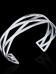 Fashion 925 Sterling Silver Plated Cross Lines C Shape Bracelet Christmas Gifts