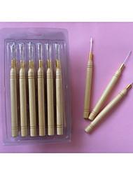 Aço inoxidável 12pcs muito punho de madeira threader puxar ferramentas de extensão do cabelo extensão do cabelo gancho agulha threader