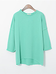 Women's Solid White / Black / Green Blouse , Round Neck Long Sleeve