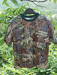 Men Outdoor Camouflage Breathable Summer Tshirt Camo Cotton Short Sleeve Tshirt for Fishing Hunting