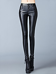 Women's Solid Black Skinny Pants , Bodycon / Plus Sizes High Rise Fashion Slim Was Thin Special Leather Types