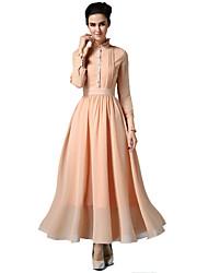 De las mujeres Corte Bodycon / Corte Swing Vestido Vintage / Fiesta Un Color Maxi Cuello Barco / Escote Chino Raso