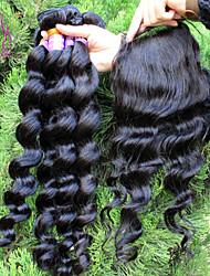 """brasilianisches reines Haar mit Verschluss lose Welle 10 """"-30"""" Haareinschlagfaden mit Verschlüssen natürliche schwarze Farbe kein"""