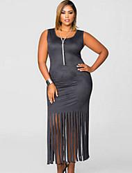 Women's  Micro Suede Fringe Hem Full-figured Dress