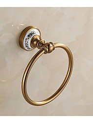 Antique Porcalin Porcelain Bathroom Towel Ring , Neoclassical Brushed Wall Mounted