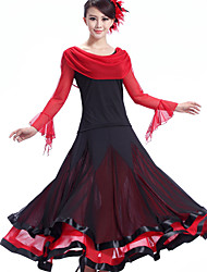 Robes(Fuchsia / Rouge / Bleu Royal,Crêpe / Fibre de Lait,Danse moderne)Danse moderne- pourFemme Au drapée Spectacle Danse de Salon
