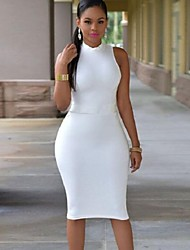 Women's Hot Sale Solid Bodycon Plus Size Casual Hollow Out Backless Round Neck Sleeveless Pencil Dress