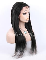 en stock 10-30inch soie droite avec bébé de dentelle de cheveux devant perruques 100% brésiliens vierges u de cheveux humains perruque