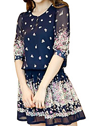 Woman's Blue Floral Print Chiffon Bohemia Mini Dress