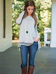 Women's Causal Loose Round Neck Long Sleeve Lace Patchwork T-shirt