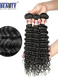 """3 unidades / lote 8 """"-30"""" 8a onda profunda virgem brasileiro do cabelo de trama 100% cabelo humano virgem não transformados tece"""