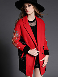 Women's Solid Red Coat , Casual Long Sleeve Polyester
