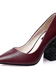 Women's Shoes Leatherette Chunky Heel Heels Heels Wedding / Dress Black / Brown / Burgundy