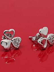 South Korea Fashionable Clover Platinum Diamond Stud Earrings ED022