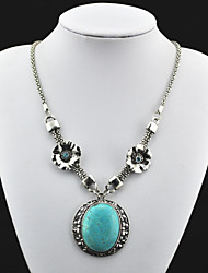 Vintage Look Antique Silver Plated Cz Flower Turquoise Stone Necklace Pendant(1PC)