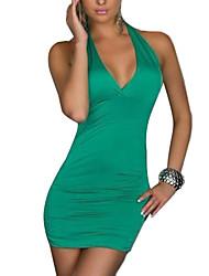 De las mujeres Tallas Grandes Vestido Sexy / Fiesta Un Color Mini Halter Algodón / Licra