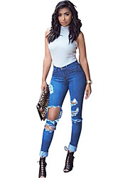 Hole high waist denim Slim thin pants