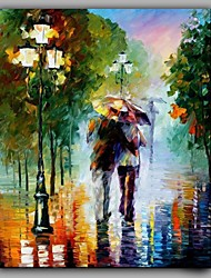 Lovers Kissed on Street Romantic Scenery Hot Modern Knife Painting