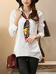 Women's Plus Sizes Solid White Blouse , Shirt Collar Long Sleeve